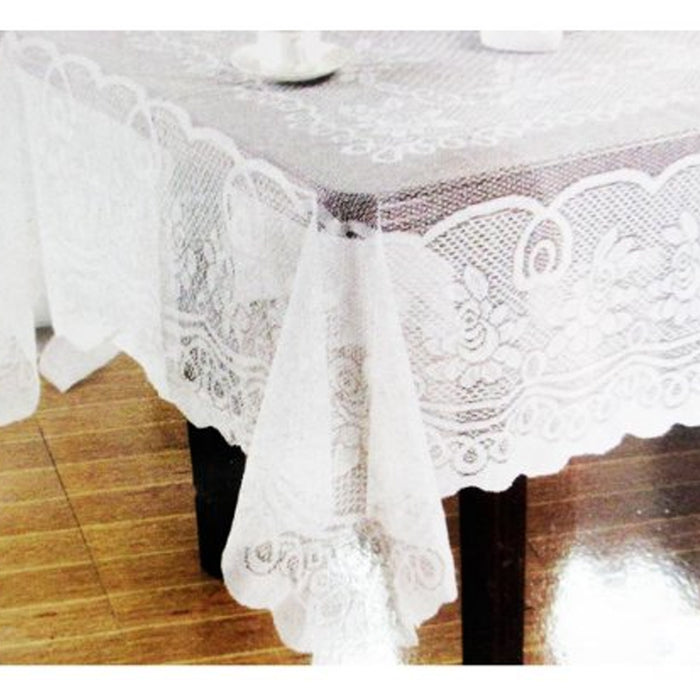 "Lace Tablecloth Beige Vinyl 60""X90"" Cover Wedding Floral Vintage Dinning Tabl"
