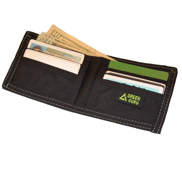 Green Guru Mens Bifold Wallet Card ID Holder Recycled Bicycle Tire Tubes Black