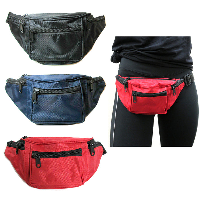 3 X Fanny Pack 4 Pockets Blue Black Red Travel Waist Pouch Adjustable Belt Bag