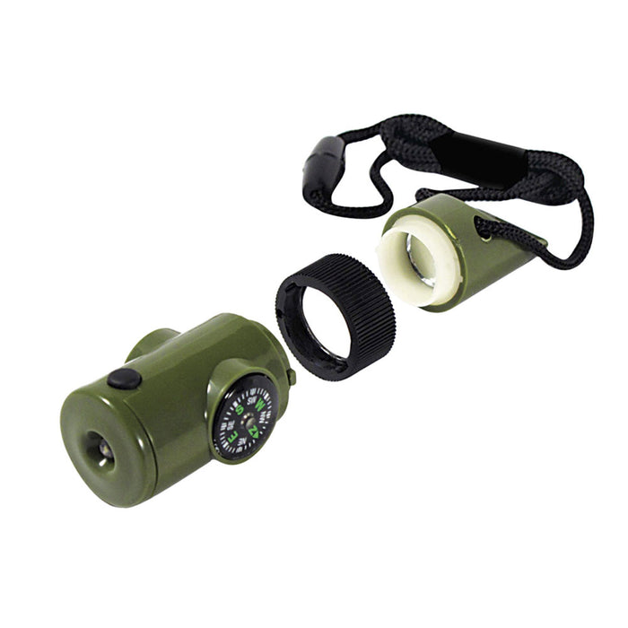 7in1 Camping Survival Whistle Compass Thermometer Led Flashlight Magnifier Gift
