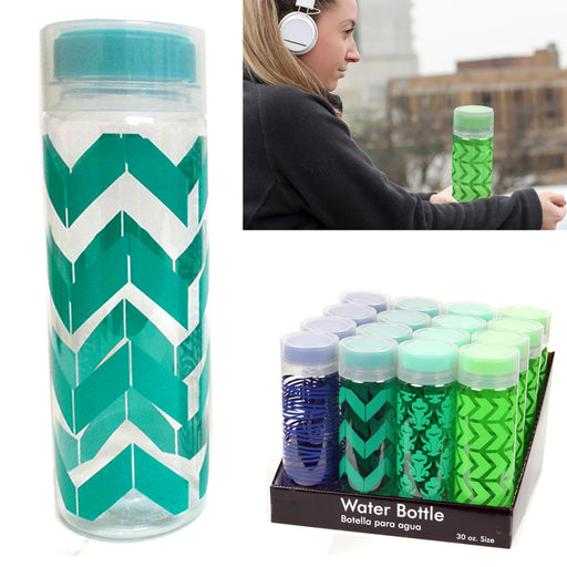 1 Water Bottle BPA Free Juice Container Lid Canister Fun Pattern Designs 30 OZ