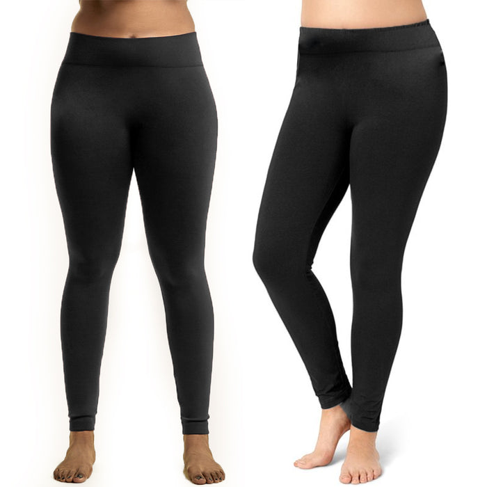 3 Black Leggings Plus One Size Fit Seamless Fleece Yoga Pants Stretchy Women