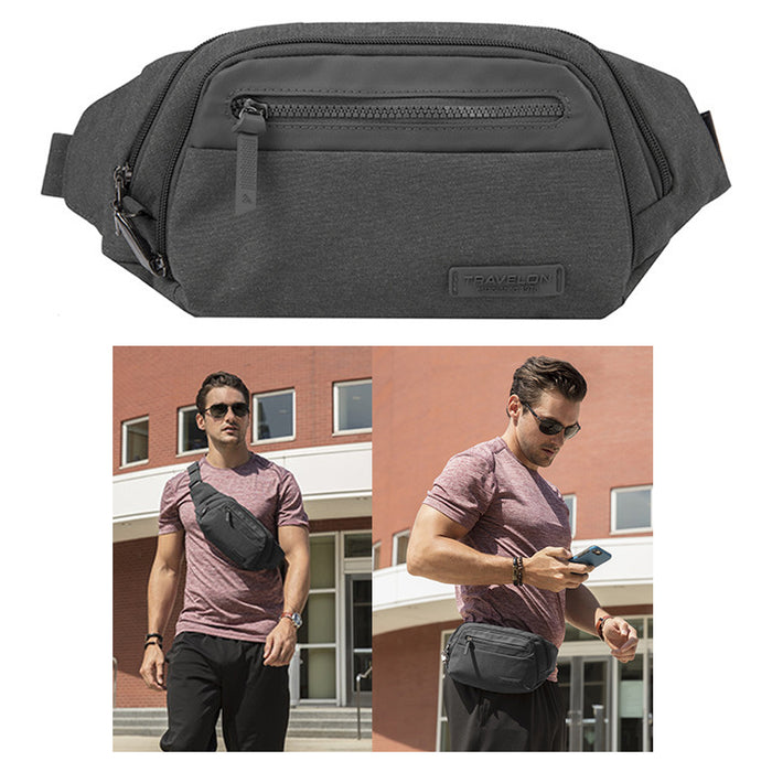 Travelon Anti-Theft Metro Waist Fanny Pack RFID Blocking Travel Wallet Gray New