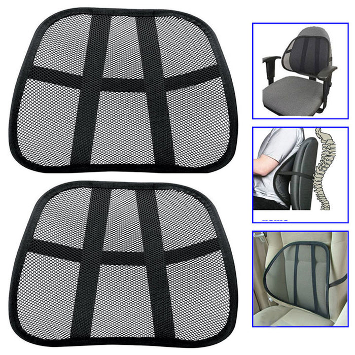 2 Cool Vent Cushion Mesh Back Lumber Support Car Office Chair Truck Seat Black !