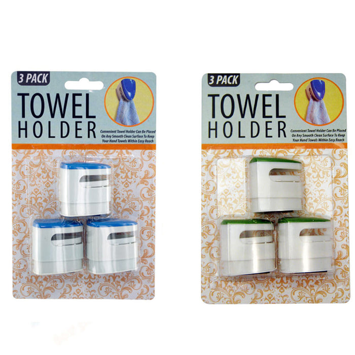 3 Towel Holders Clear Push In Grip Kitchen Cloth Self Adhesive Bar Bathroom New