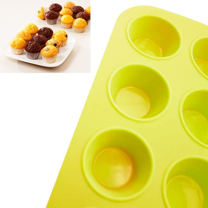1 Mini Muffin Silicone 12 Cup Cavity Cookie Cupcake Bakeware Pan Soap Tray Mold