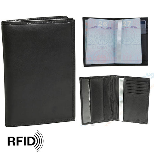1 Travelon Leather Passport Holder RFID Blocking Wallet Card Cover Case Travel