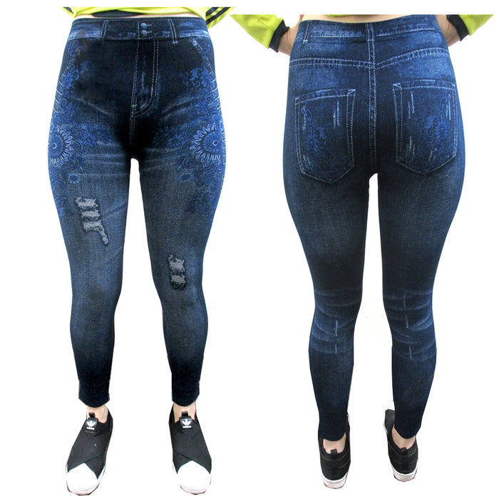 Womens Fashion Jeggings Jeans Print Leggings Pants Stretchy Skinny Slim One Size