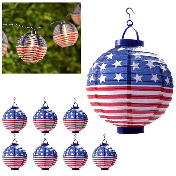 8 USA Flag Lanterns American Yard Lights LED Round 4th July Party Decoration 8""