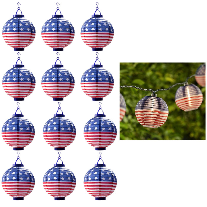 Lot of 12 USA Flag Paper Lantern Light LED Floating Balloon Decor 4th July Party