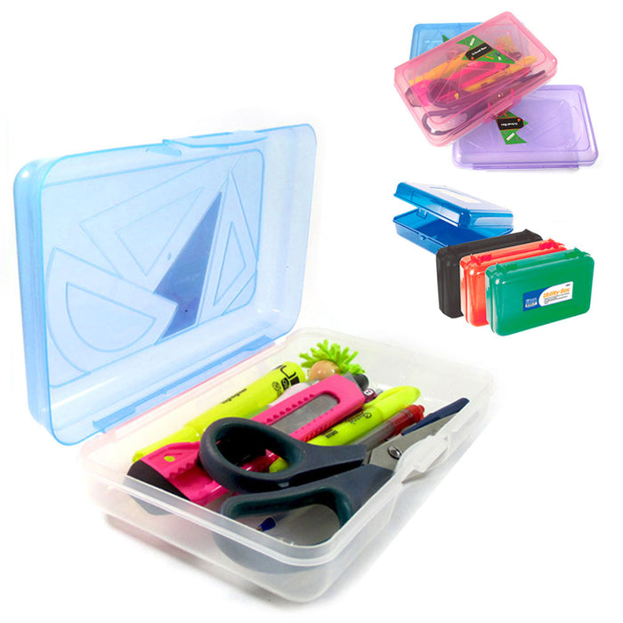 School Pencil Box Case Kids Office Supplies Pen Art Craft Organizer Plastic New