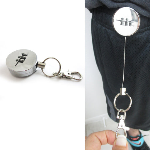 Steel Retractable Key Ring Clip On Pull Chain Id Holder Reel Belt Extends 26""