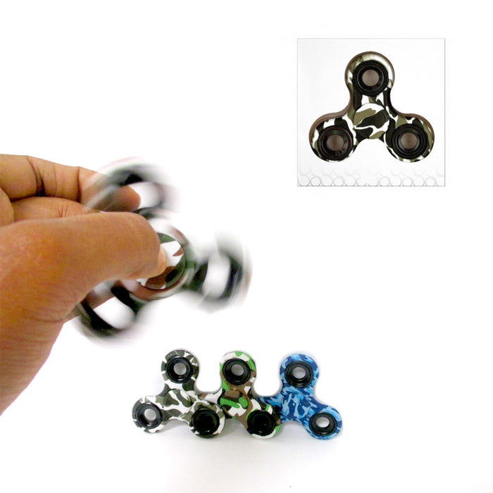 6 Pc Lot Fidget Spinner Gyro Tri Camo Toy EDC Hand Finger Focus Camouflage ADHD