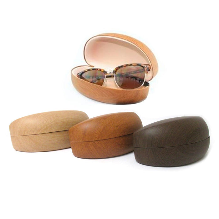 2 Sunglasses Case Holder Large Hard Wooden Clam Design Eye Glasses Portable Wood