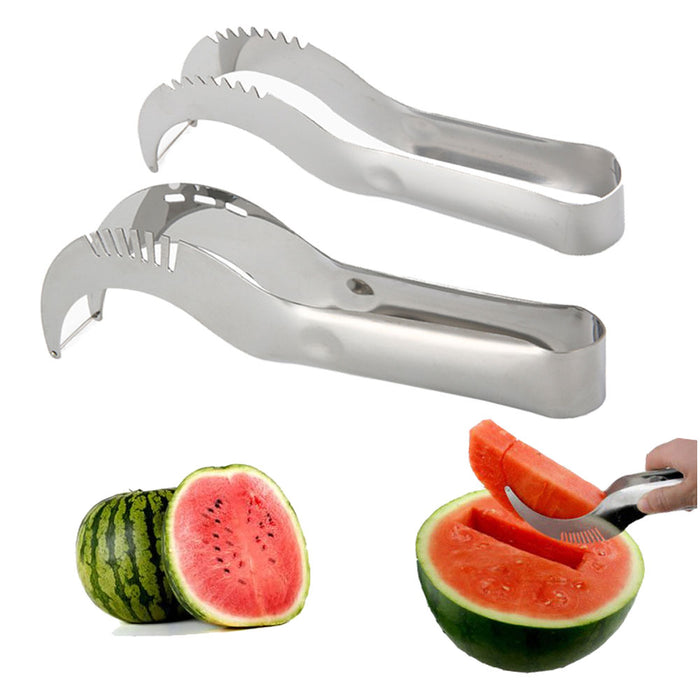 2 Watermelon Slicer Server Knife Melon Cutter Corer Scoop Stainless Steel Tool