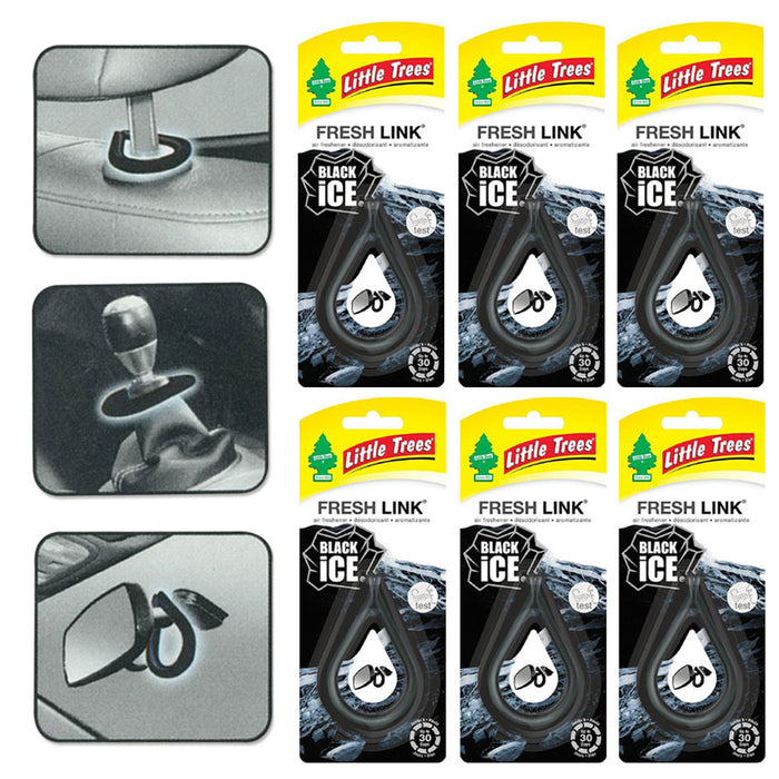 6 Pc New Little Trees Fresh Link Car Home Office Hanging Air Freshener Black Ice