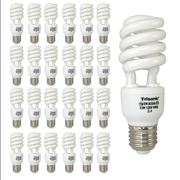 24 Daylight Bulbs CFL 150 Watt 150 W 33 W Energy Saving White Fluorescent Light