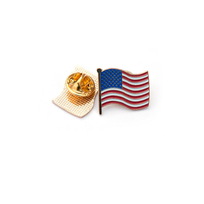 5 American Flag USA Lapel Pin Tie Tack United States Patriotic Badge Brooch Gold