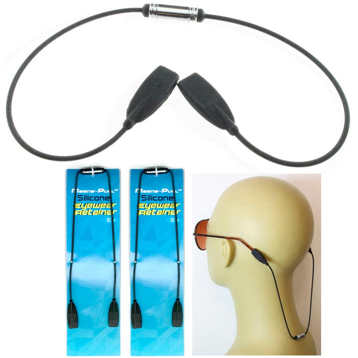 2 Eyewear Retainer Sunglasses Lanyard Silicone Neck Black Cord Strap Holder 15""
