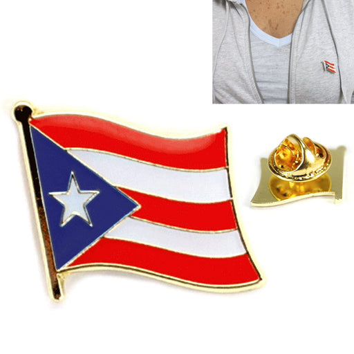 1 Pc Puerto Rico Flag Pin Lapel Country Puerto Rican Pinback Tie Hat Cap Badge