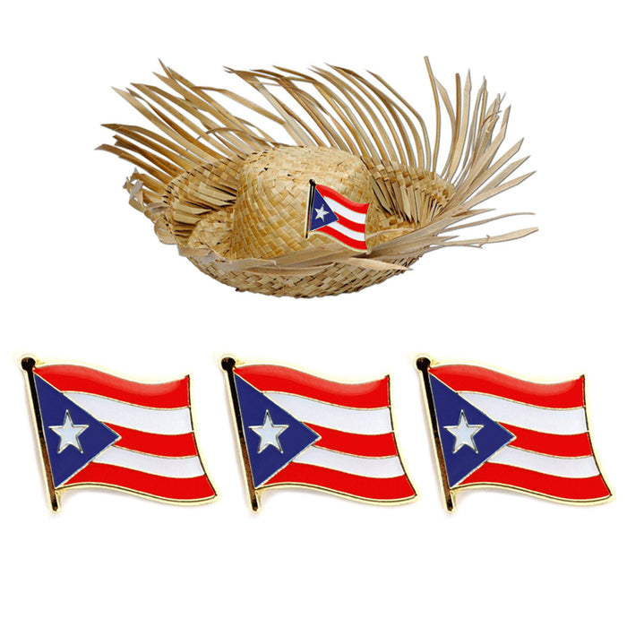 3 Pc Puerto Rico Flag Lapel Pin Patriotic Puerto Rican Pinback Hat Tie Cap Badge