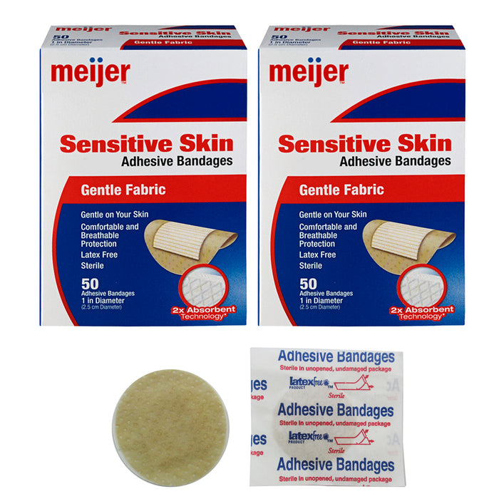 "100 Count Bandage Bandages Cut Adhesive Fabric Spot Round Medical 1"" Latex Free"