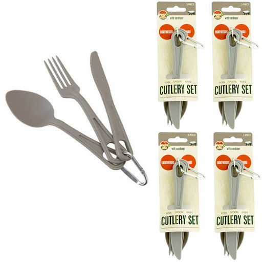 12 Pc Camping Cutlery Utensil Set Carabiner Knife Fork Spoon Durable Reusable