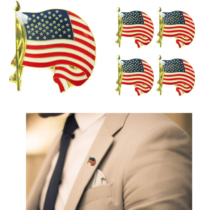 5 Gold American Flag USA Lapel Pin Tie Tack United States Patriotic Badge Brooch