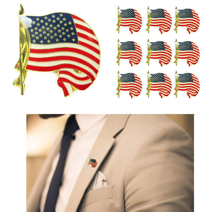 10 USA Cufflink Gold American Flag Lapel Pin Tie Tack United States Badge Brooch