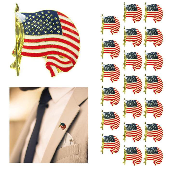 20 United States Lapel Cufflink Gold American Flag USA Pin Tie Tack Badge Brooch