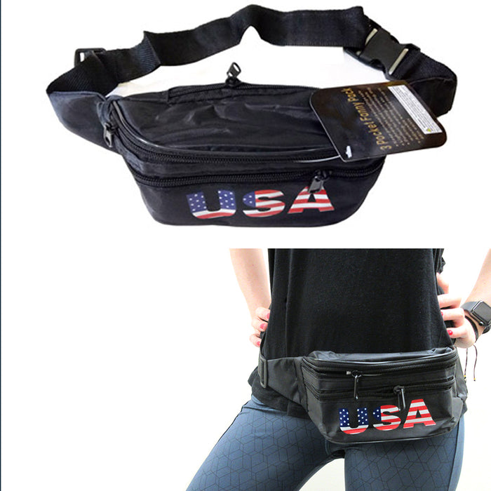 2pc USA Flag Fanny Pack Travel Utility Bag Waist Pouch Adjustable 3 Pocket Sport