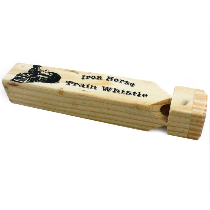 "2PC Large Iron Wooden Train Engine Whistle 7"" ChooChoo Sound Locomotive Kids Toy"