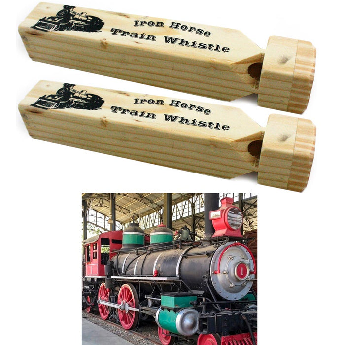 "2 x Train Whistle Wooden Iron Engine Sound 7"" Choo Choo Noisemaker Kids Toy Gift"