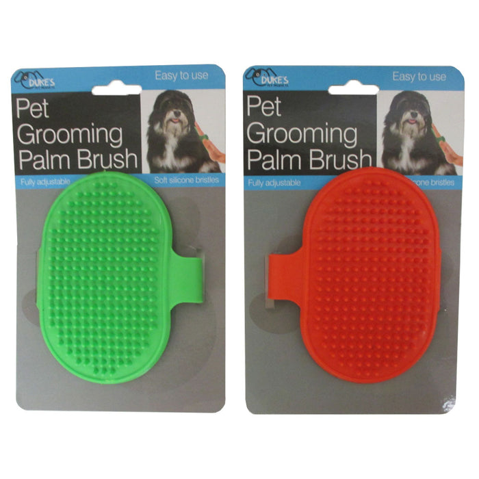 2 Dog Pet Grooming Brush Comb Hair Soft Scrubber Rubber Oval Strap Bath Handle