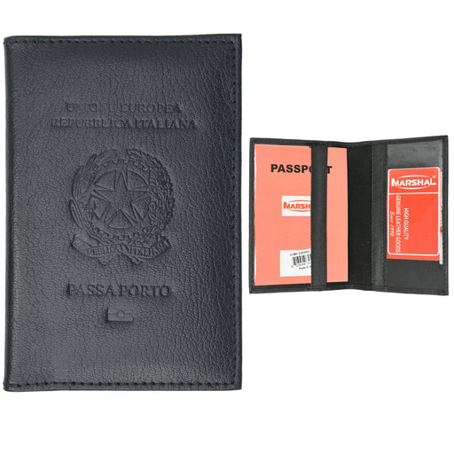 Italian Italy Genuine Leather Embossed Passport Cover Holder Protector Europe