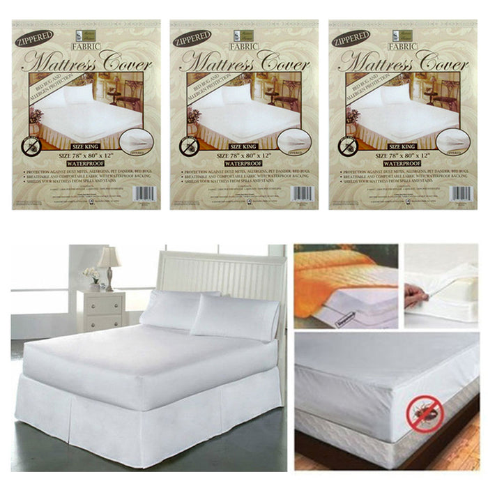 3 Pc King Mattress Cover Zippered Fabric Protector Bed Dust Mite Bug Waterproof