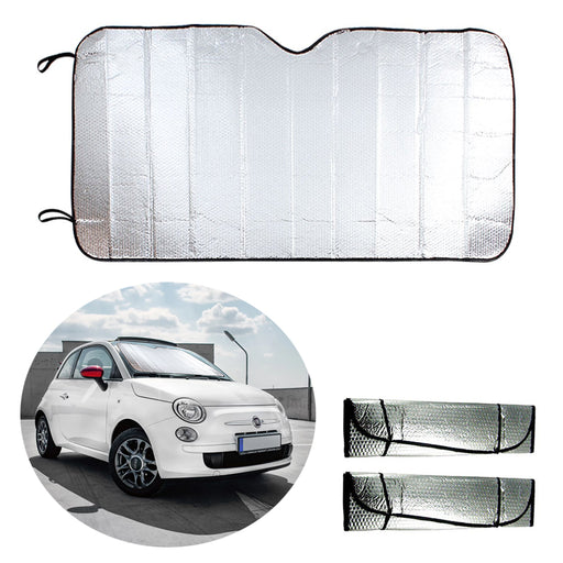 2PC Auto Car Sun Shade Foldable Sun Visor Front Wind Shield Rear Window Metallic