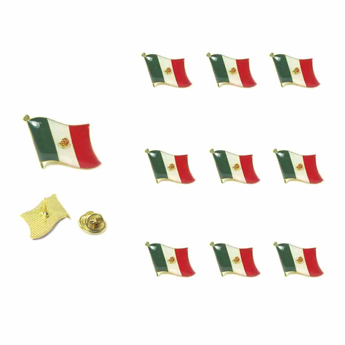 10 Pc Mexico Flag Lapel Pin Support Patriotic Enamel Badge Hat Tie Mexican Flag