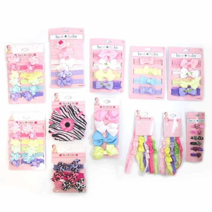 68 PC Baby Girl Hair Bow Accessories Set Toddler Bow Headband Ribbon Barrette