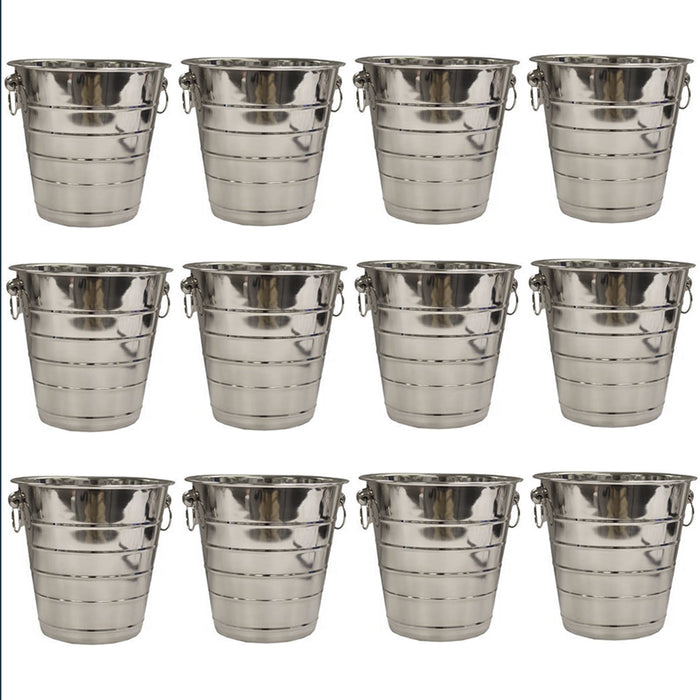 12 Pc Ice Bucket Cooler Stainless Steel Drink Holder Wine Champagne Handle 5 Qt