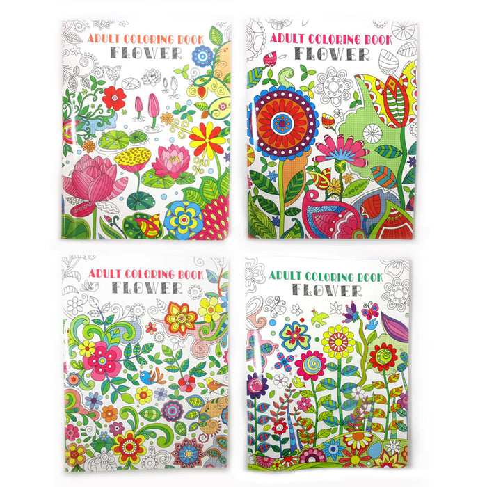 4 Pc Adult Coloring Books Creative Floral Painting Stress Relief Book Activity