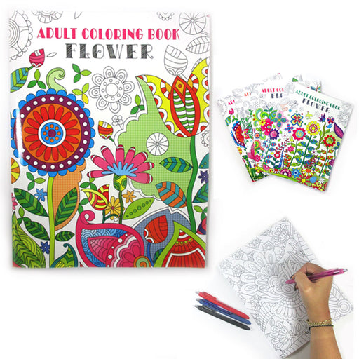 1 x Adult Coloring Book Children Floral Painting Stress Relief Relax Activity