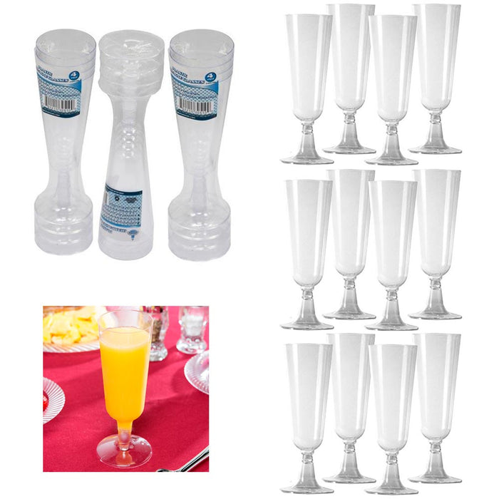 12Pc Wedding Plastic Wine Clear Champagne Flutes Disposable Glasses Cups 4.7oz