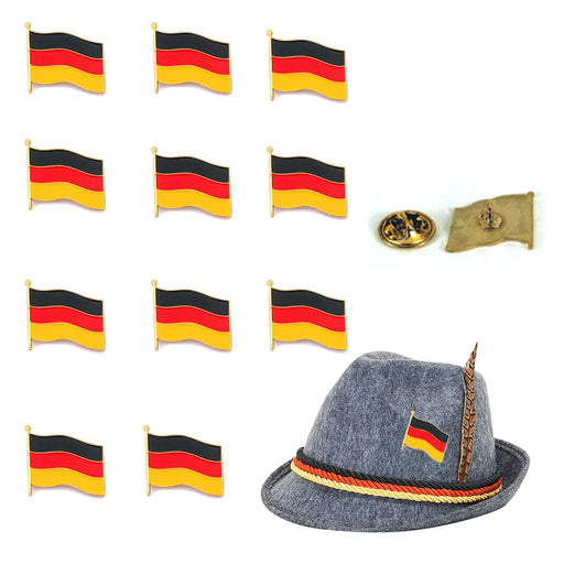 12 Germany Flag Lapel Waving Pin Patriotic Oktoberfest Pinback Deutschland Badge