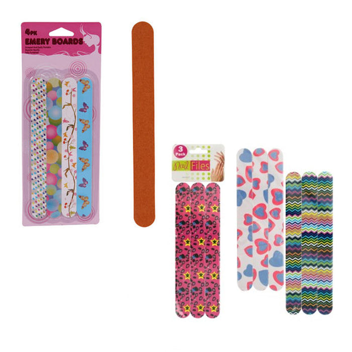 12 Double Sided Nail File Manicure Pedicure Emery Boards Slumber Party Favor New