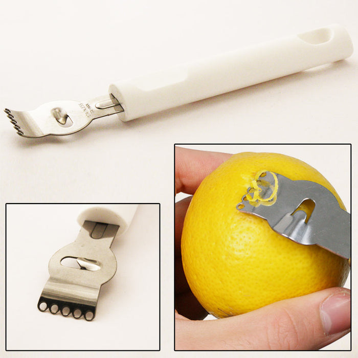 Stainless Steel Lemon Lime Citrus Zester Garnish Kitchen Tool Curls Twists New