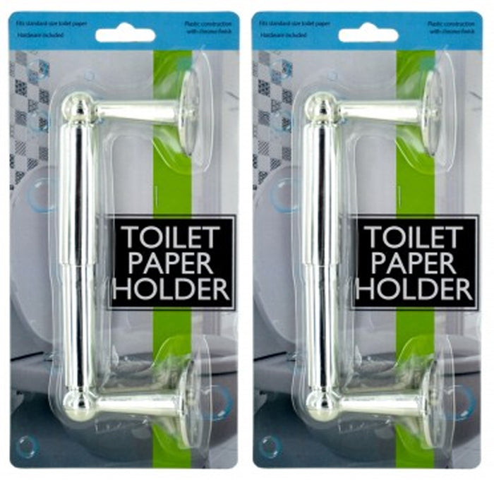 2 X Toilet Paper Holder Bathroom Hardware Bath Accessory Plastic Chrome Standard