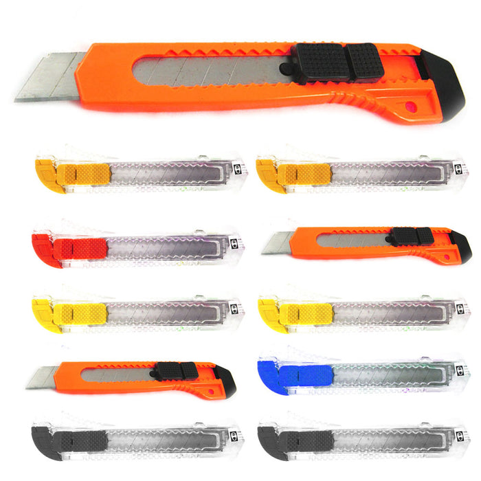 10Pc Folding Lock Back Utility Knife Box Cutter Retractable Blade Snap Off Razor