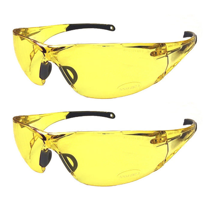 2 Pair Yellow Lens Sunglasses Safety Goggles Eyewear Glasses Uv400 Night Driving