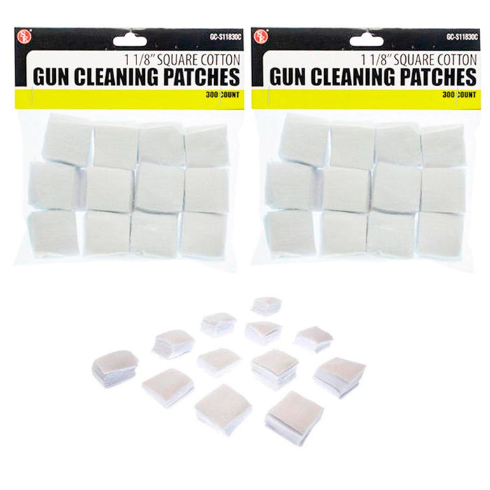 600 Cotton Gun Cleaning Patches 1 1/8 Square Patch Wipes Firearm Maintenance